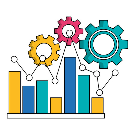 statistic bar graph pointed line and gears teamwork vector illustration