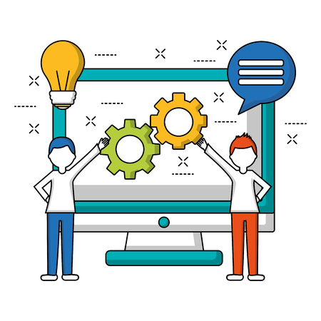 people holding gears and computer speech bubble teamwork vector illustration