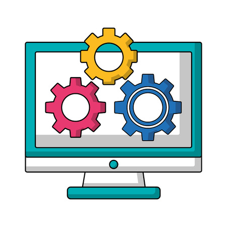 computer and gears setting device work vector illustration Çizim