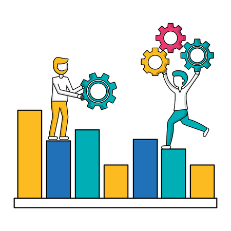 people on statistic business diagram with gears teamwork vector illustration