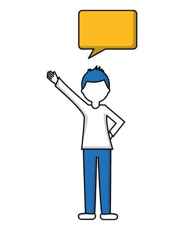 man with speech bubble talk vector illustration