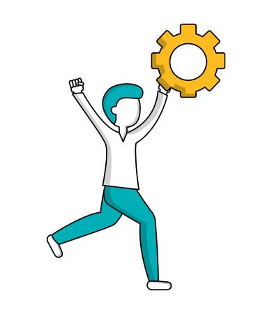 man with gear work innovation teamwork vector illustration Иллюстрация