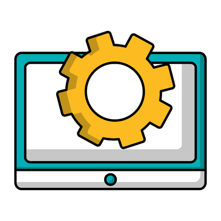 tablet computer and gear teamwork vector illustration