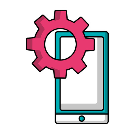 mobile gear setting on screen work vector illustration