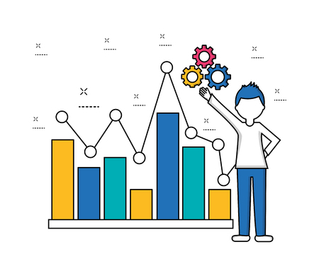 businessman with gears and business diagram financial vector illustration