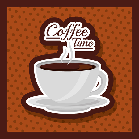 coffee cup hot drink fresh dots background - coffee time vector illustration Çizim