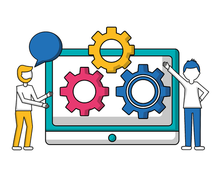 people tablet computer gear teamwork vector illustration
