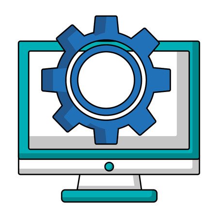 monitor computer setting work image vector illustration Stock Illustratie