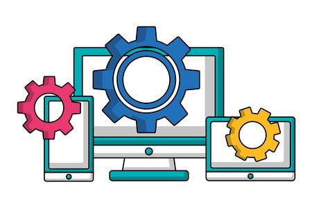 computer smartphone and tablet gears teamwork vector illustration