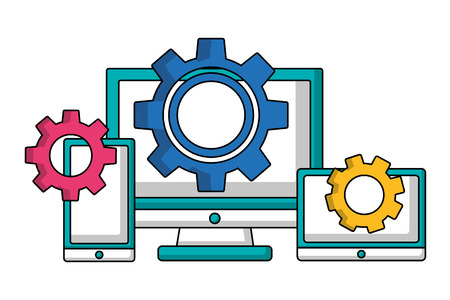 computer smartphone and tablet gears teamwork vector illustration