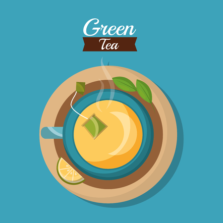top view teacup teabag and lemon herbal leaves tea time vector illustration Illustration