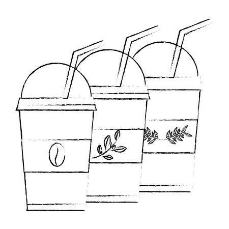 disposable coffee and tea cups and straws drink vector illustration