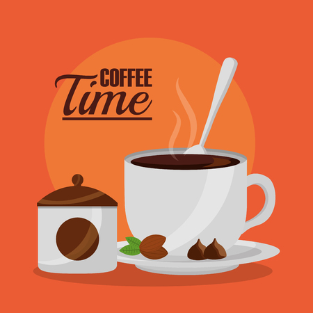 coffee cup sugar and spoon coffee time vector illustration