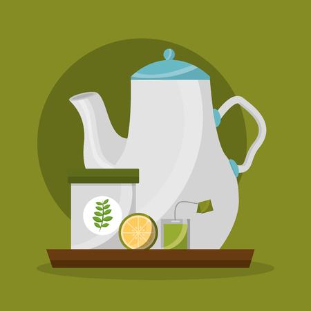 teapot sugar lemon and teabag tea time vector illustration Banque d'images - 102923194