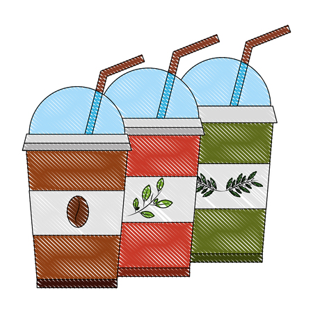 disposable coffee and tea cups and straws drink vector illustration drawing Illustration