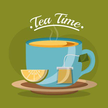 tea cup slice lemon and teabag on dish - tea time vector illustration Vektorové ilustrace