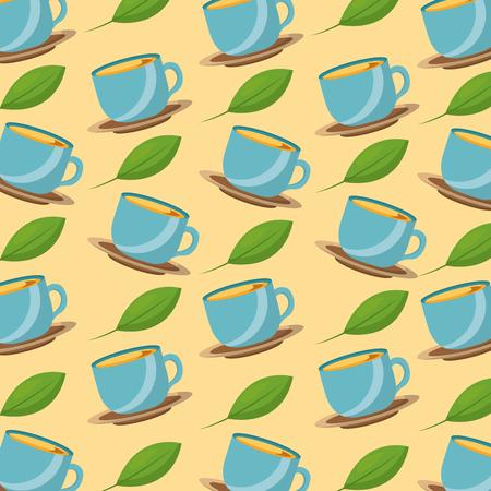 tea time teacups and leaves herbal fresh pattern design vector illustration