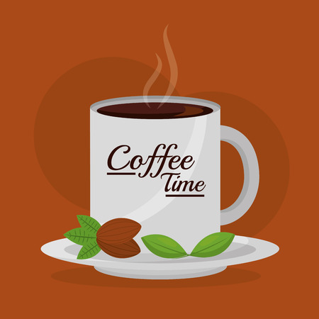 coffee mug on dish with seeds fresh - coffee time vector illustration