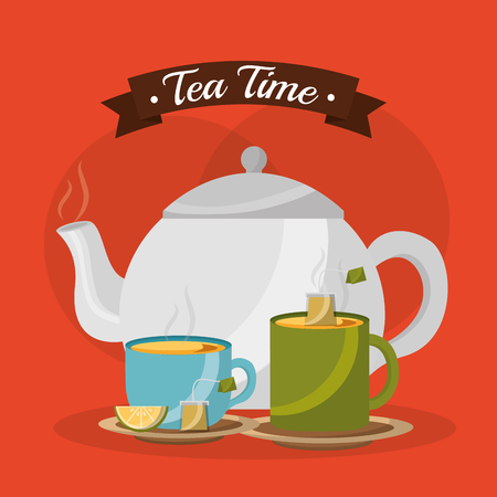teapot and cups hot beverages with lemon - tea time vector illustration