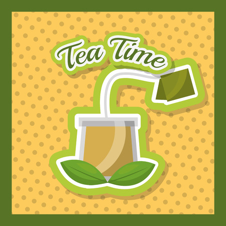 glass cup tea herbal teabag dotted background - tea time vector illustration 向量圖像