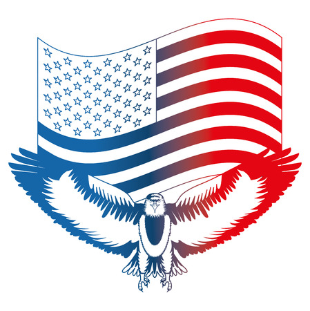 american eagle symbol waving flag national vector illustration