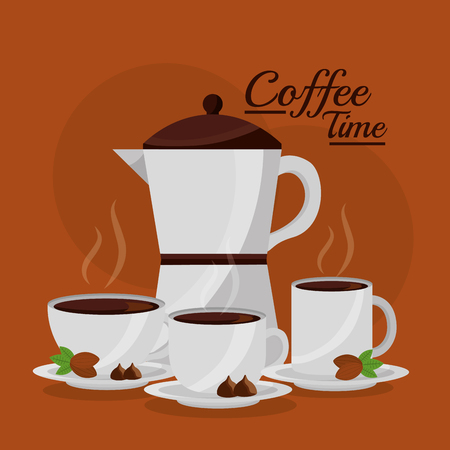 coffee maker and three cup fresh seeds - coffee time vector illustration
