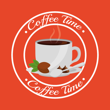 coffee cup seeds and spoon on dish - coffee time sticker vector illustration Illustration