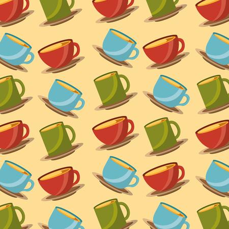 tea time colored cups ceramic decoration pattern vector illustration