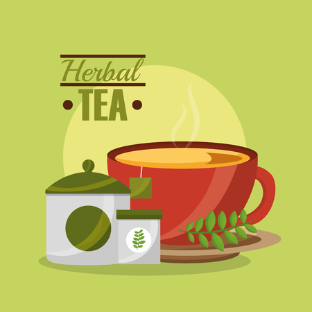 tea cup sugar teabag and herbal flavor tea time vector illustration