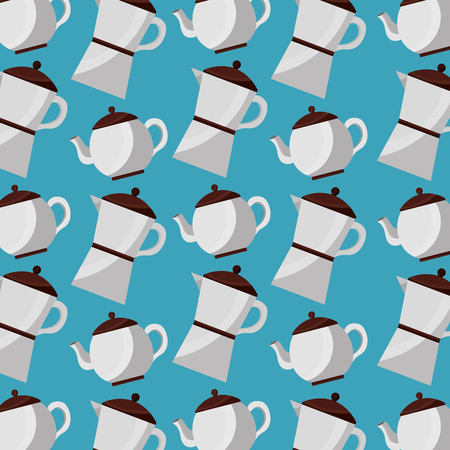 coffee and tea time coffee maker and teapot pattern vector illustration