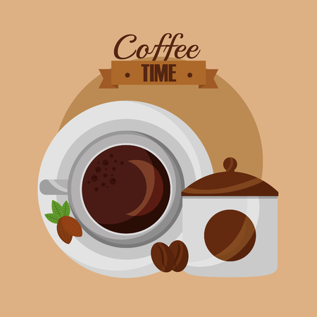 top view cup seeds product coffee time vector illustration Ilustração