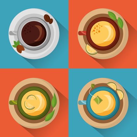 coffee and tea time top view cups on dishes seeds and leaves herbal collection vector illustration