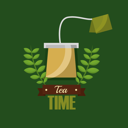 teabag herbal flavor aroma tea time vector illustration