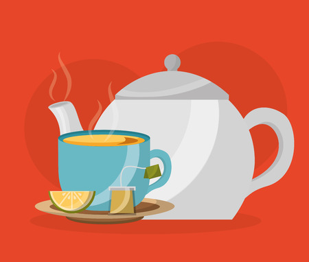 teapot and teacup with lemon and teabag - tea time vector illustration