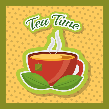hot tea cup and teabag on dish dotted background - tea time vector illustration