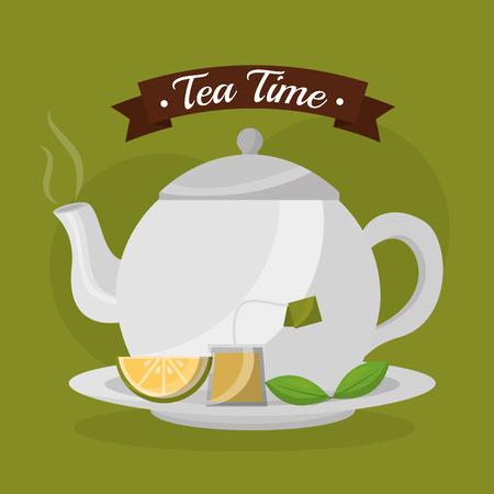 teapot slice lemon teabag and mint leaves fresh - tea time vector illustration
