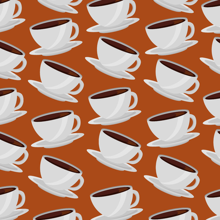 coffee cups on dishes aroma pattern design vector illustration Illustration