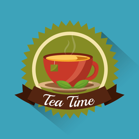 tea cup and teabag herbal on dish - tea time emblem vector illustration Иллюстрация