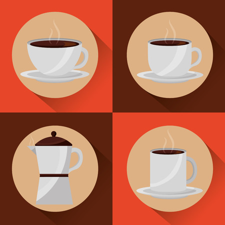 coffee time- coffee maker and cups fresh aroma collection vector illustration