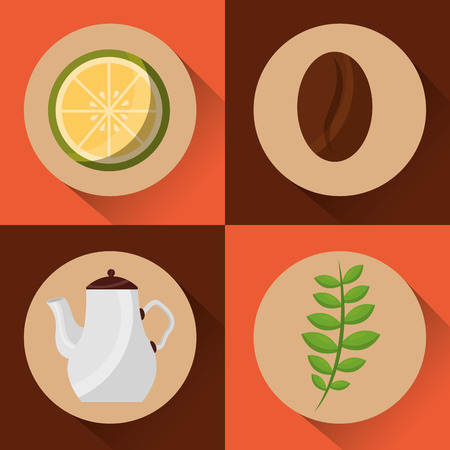 coffee and tea time - coffee maker seed lemon and herbal leaves set vector illustration