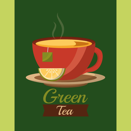 green tea cup fresh delicious drink vector illustration Illusztráció