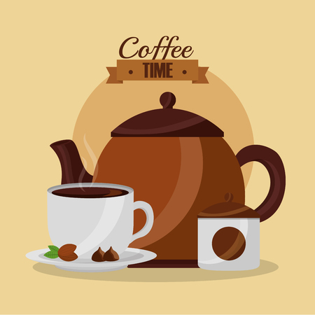 coffee maker hot beverage in cup coffee time vector illustration