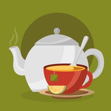 teapot tea cup slice lemon and teabag on dish spoon - tea time vector illustration Illustration
