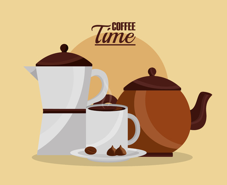 coffee maker and kettle with cup seed coffee time vector illustration