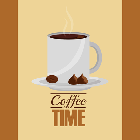 coffee time  cup hot beverage and nuts vector illustration