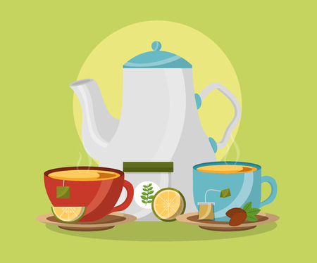 teapot and ceramic cups with hot beverage lemon tea time vector illustration Vectores
