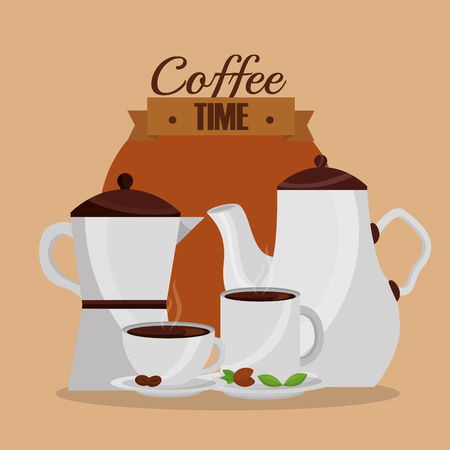 coffee maker and cups kitchenware coffee time vector illustration