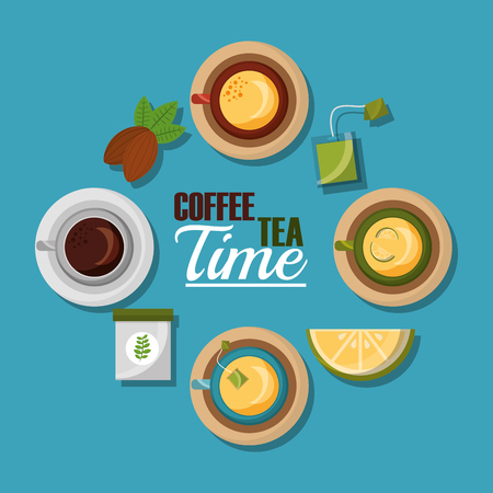coffee and tea time coffee and tea cups lemon seed and teabag collection vector illustration