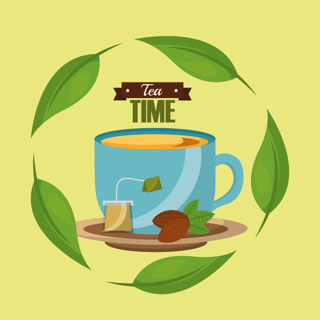 tea cup tea bag seed and herbal leaves tea time vector illustration