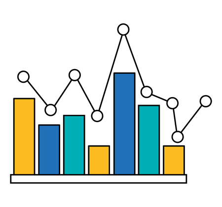 statistic bar graph pointed line image vector illustration